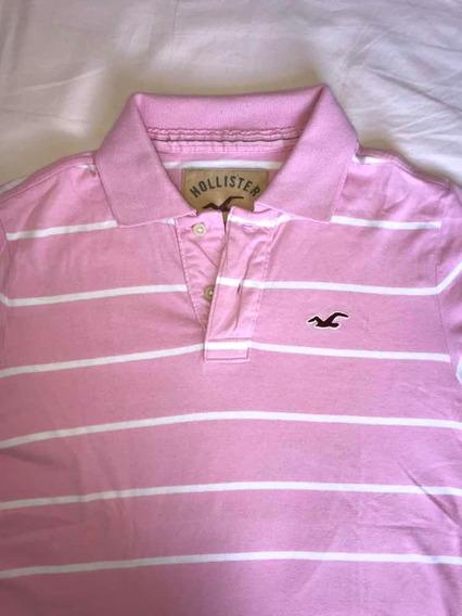 Hollister Camisa Polo Rosa Tamanho M