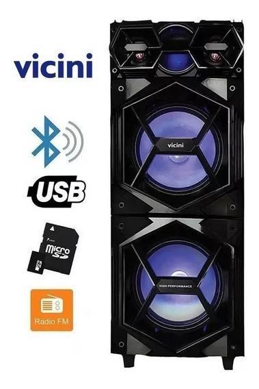 Caixa Amplificada Bluetooth Usb Com Rodinhas- Vicini Bivolt