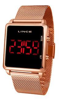 Relógio Unissex Lince Led Rose Gold 50m Ref. Mdr4596l-pxrx