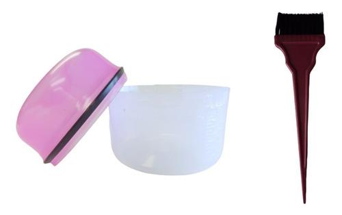Kit Para Tinte Taza Mezcladora Dosificada + Brocha  Tinte Xl