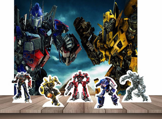 Kit Decoração Painel De Festa + Displays Mesa Transformers