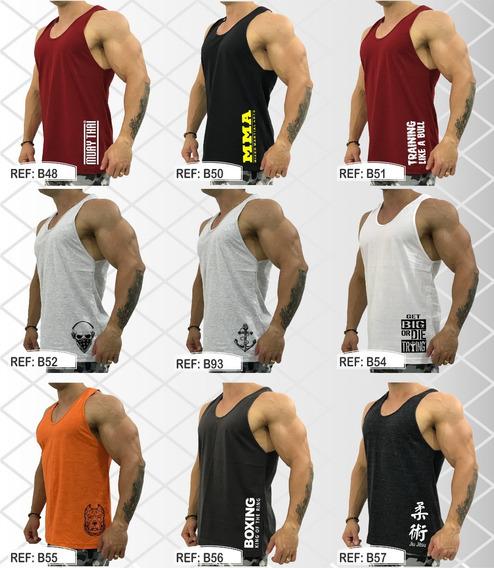 Kit 4 Regatas Cavada Masculina Academia Treino Musculação