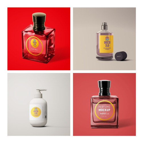 5 Mockup Envase Jabon Liquido Perfume Alcohol Gel Photoshop