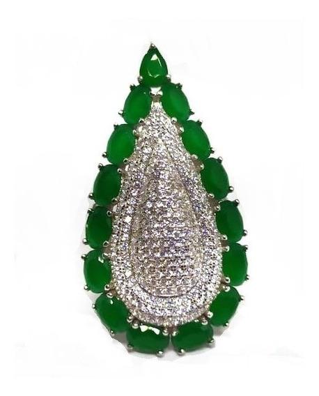 Ef7-anel Gota Prata 925 Jade Zirconias Rodio Kessel