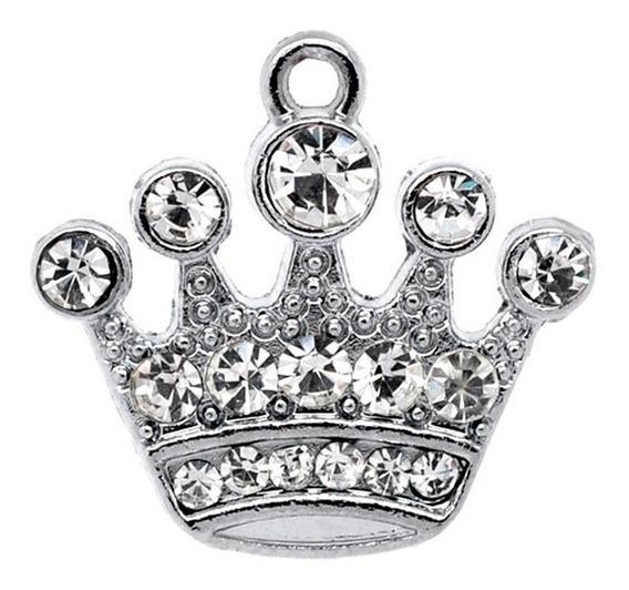 Dije Corona Princesa Cristales Con Cadena Acero Inoxidable.