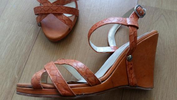Zapatos Mujer Sandalias Cuero Naranja 40 Liquido Sin Uso