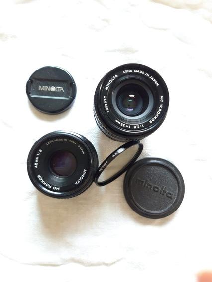 Câmera Minolta Xe-5 Analógica + 3 Objetivas: 35; 45 E 50 Mm