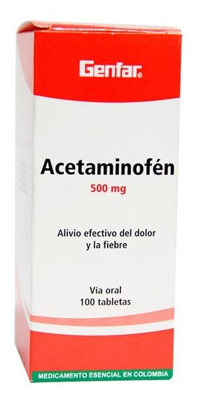 Acetaminofen 500mg Caja X 100 Tabletas Genfar