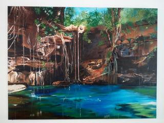 Cuadro Óleo Realista Mexicano Paisaje Cenote X-batún.