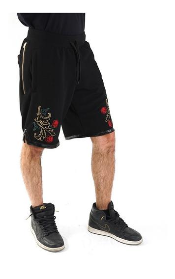 Shorts Bermuda Negro Bordado Rosas, Billionz Kmtk Store
