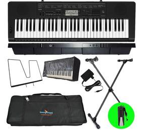 Kit Teclado Musical 61 Teclas Ctk-3500 Casio Pedal Sustain