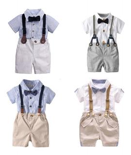 Conjunto Terno Body Camisa De 4 Piezas Importado Niños Bebes