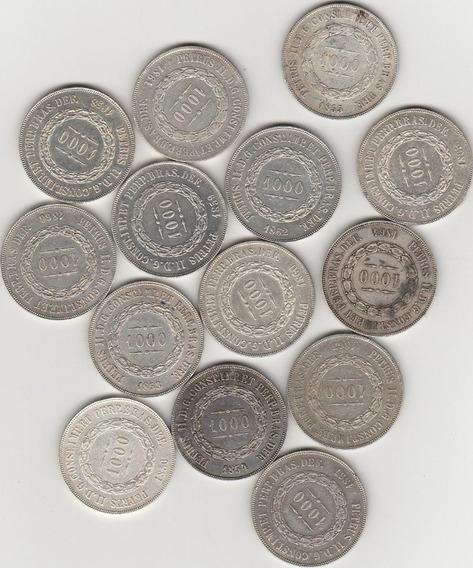 Serie Completa 1000 Reis De Prata De 1853 A 1866