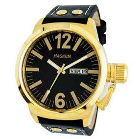 Relógio Magnum Masculino Dourado Couro - Ma31524u