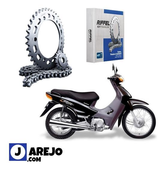 Relação Biz + 100 Kit Completo Riffel Aço 1045 Original