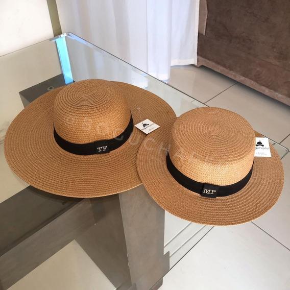 Chapéu De Praia Aba Grande Personalizado 2 Em 1 Com Faixa