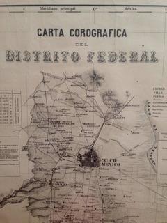 Antiguo Mapa Carta Corografica Del Distrito Federal Año 1877