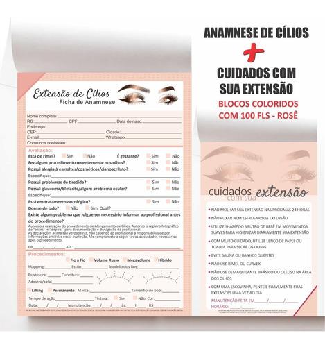 Ficha Anamnese Extensão Cílios E Bloco Cuidado Cliente C/100
