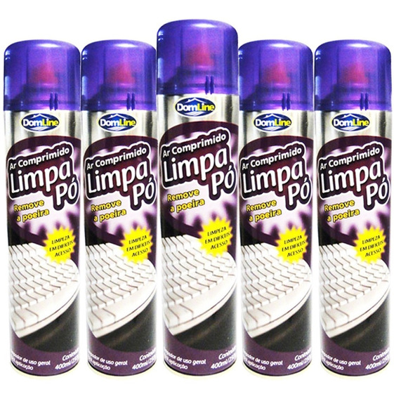Kit 5 Ar Comprimido Spray Limpa Pó 400ml 250g Domline