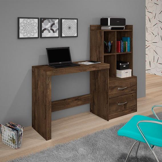 Escrivaninha Mesa Com Estante 2 Gavetas Alana Jcm Móveis Cac