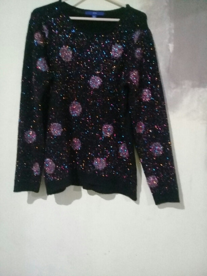 Sweter Talla L / G Marca Apt.9 Color Negro Esferas Crema