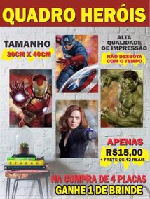 Placas Heróis Marvel Dc Batman Capitão America Hulk Flash