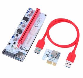 Kit (5) Placa Riser Ver 008 Pci-e Cabo Usb 3.0 Mineração Btc