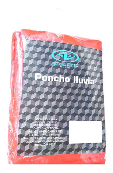 Poncho Impermeable Para Lluvia Atletic Works Rojo