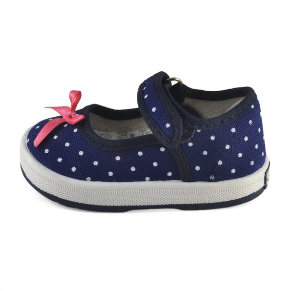 Guillermina Bebe Lunares Marino Small Shoes