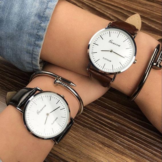 Relógio Quartz Social Feminino Geneva Gratis Pulseira Metal
