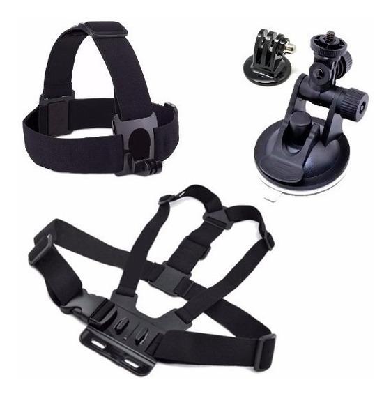Suporte De Cabeça Peitoral Ventosa Kit Go Pro Action Sports