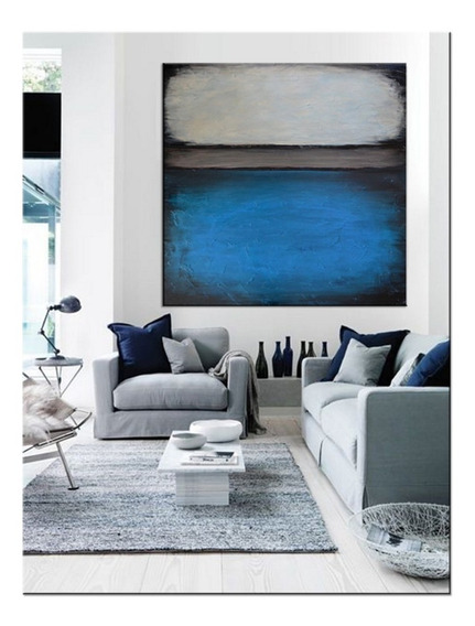 Quadro Pintura Tela Abstrato Azul Branco Preto 1,5x1,5 Metro