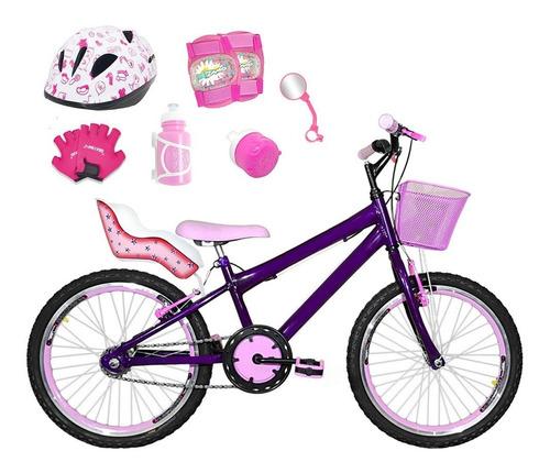 Imagem 1 de 1 de Bicicleta Aro 20 Roxa Kit Aero Rosa Bb Completa Cfa3f