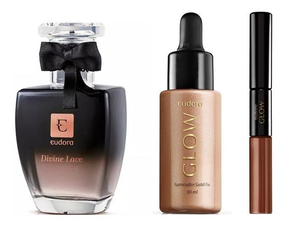 Perfume Eudora Divine Lace + Glow Iluminador + Glow Batom