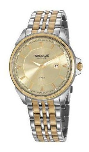Relógio Seculus Unissex 20736gpsvba1 Prata Com Dourado