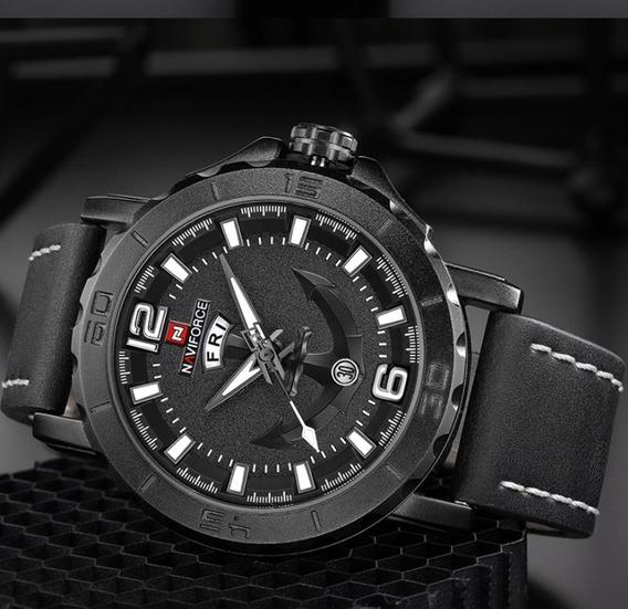 Relógio Naviforce Couro 9122 Promoção Primeiras Vendas
