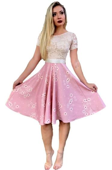 Vestido Feminino Luxo Midi Com Cinto Moda Evangélica. #vlm1101