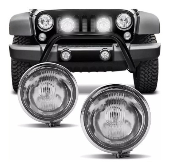 Par Farol Auxiliar Cromado Fusca Moto Jeep C/pestana 962