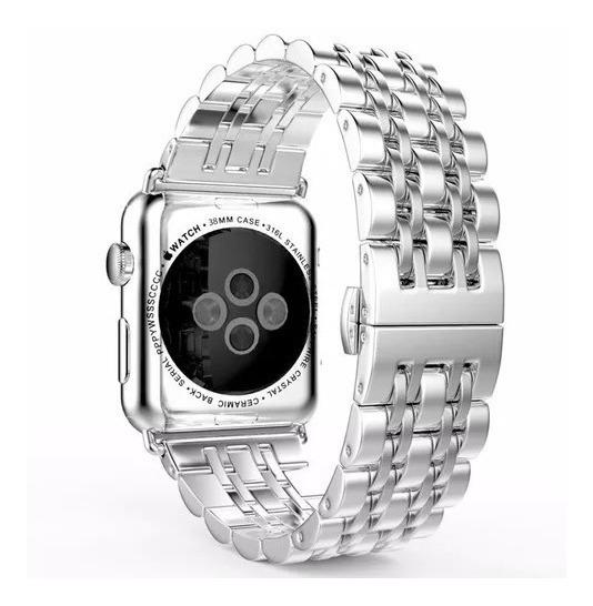 Pulseira Aço Inox P/ Relógio Apple Watch 42mm Prata