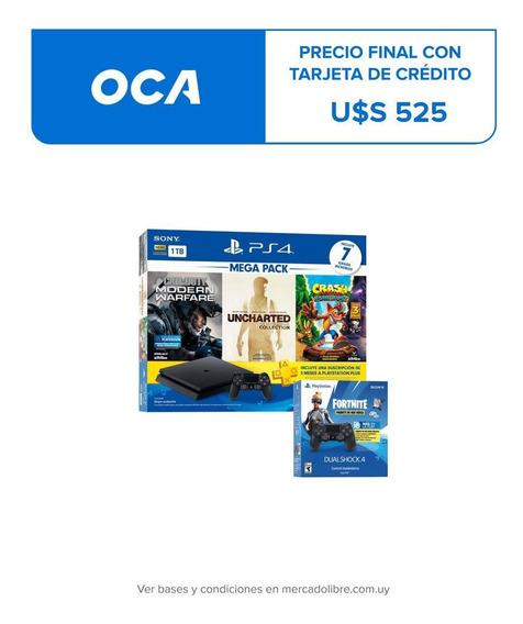 Playstation 4 +2 Joy + 7 Juegos + Fortnite + Plus Macrotec