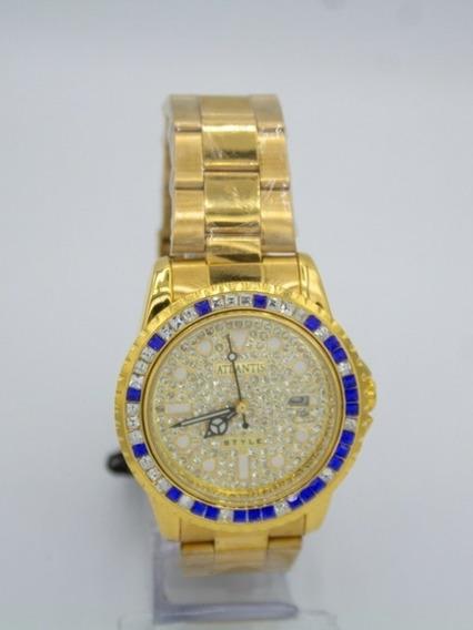 Relógio Feminino Dourado Com Brilhantes Original Atlantis