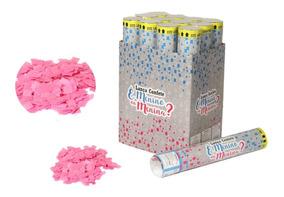12 Lança Confete Baby Rosa Menina Chá De Revelação Sexo 30cm