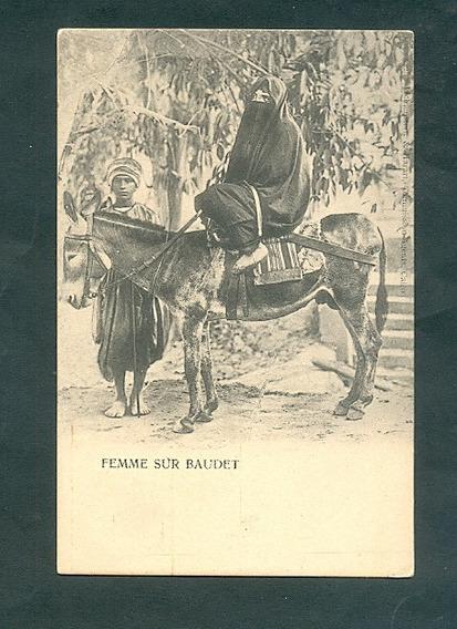 Egipto . Antigua Tarjeta Postal . Mujer Sobre Burro .