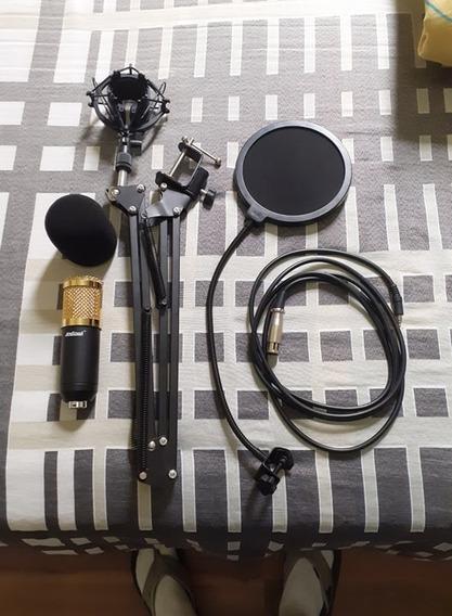 Microfone Condensador + Pop Filter + Braço Articulado