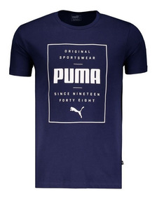 Camiseta Puma Box Logo Marinho