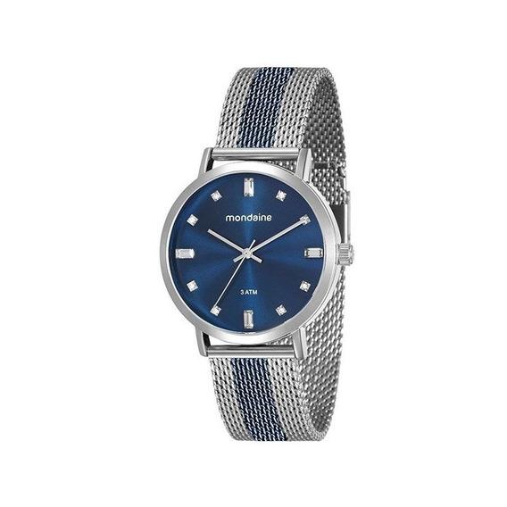 Relógio Mondaine Feminino Prata/azul 76698lpmvoe2