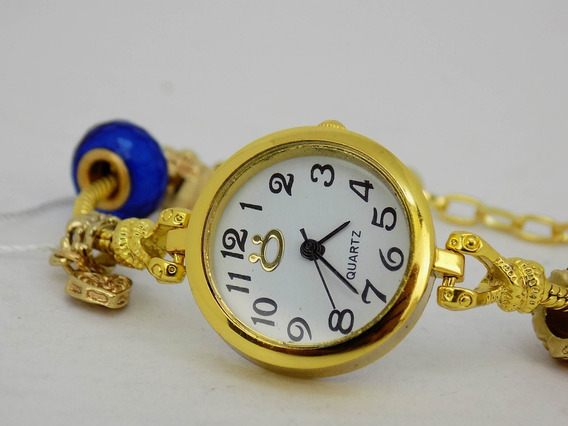 Relógio Pulseira Dourado Strass Pingente Feminino Atacado