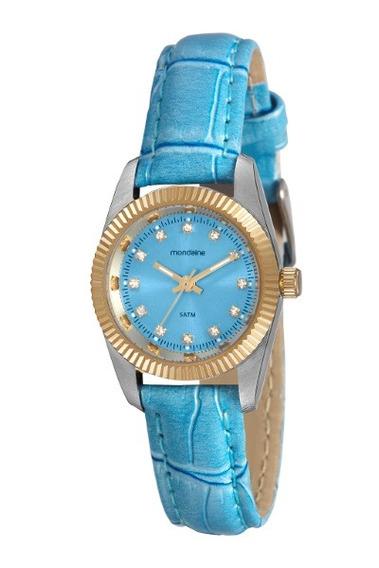 Relógio Mondaine Feminino Azul Puls Couro 35314
