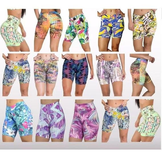 Kit 20 Shorts Suplex Feminino Cintura Alta Fitness Atacado