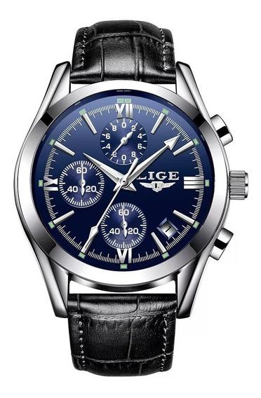 Reloj Hombre Cuarzo Piel Casual Moderno Elegante Lige 9839